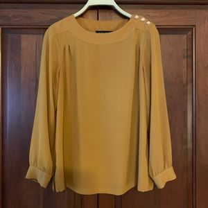 Mustard Blouse with Copper-Colored Buttons